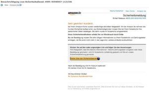 Amazon: Benachrichtigung vom Sicherheitsdienst?! (Screenshot)