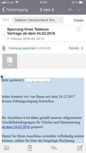 Sperrung Ihres Telekom Vertrags (Screenshot)