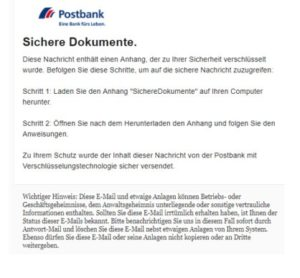 "Postbank-Phishing ""Wichtig: Dokumente sichern"" (Screenshot)"