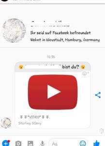 Gefährlicher YouTube-Link von Freunden (Screenshot)