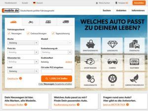 mobile.de Startseite