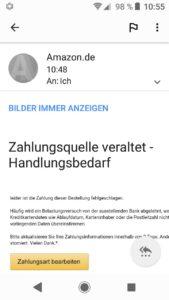 Amazon-Phishing: Zahlungsquelle veraltet!? (Quelle: Screenshot)