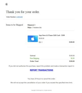 Thank you for your order - Apple-Phishing (Screenshot)